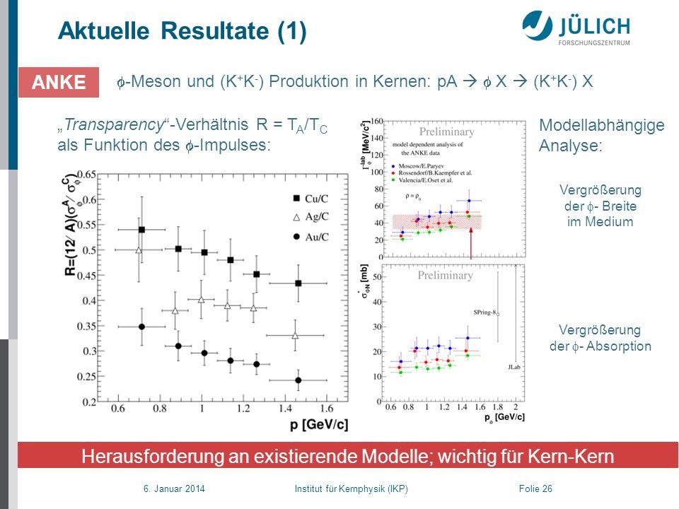 6. Januar 2014 Institut für Kernphysik (IKP) Folie 26 Aktuelle Resultate (1) -Meson und (K + K - ) Produktion in Kernen: pA X (K + K - ) X ANKE Heraus