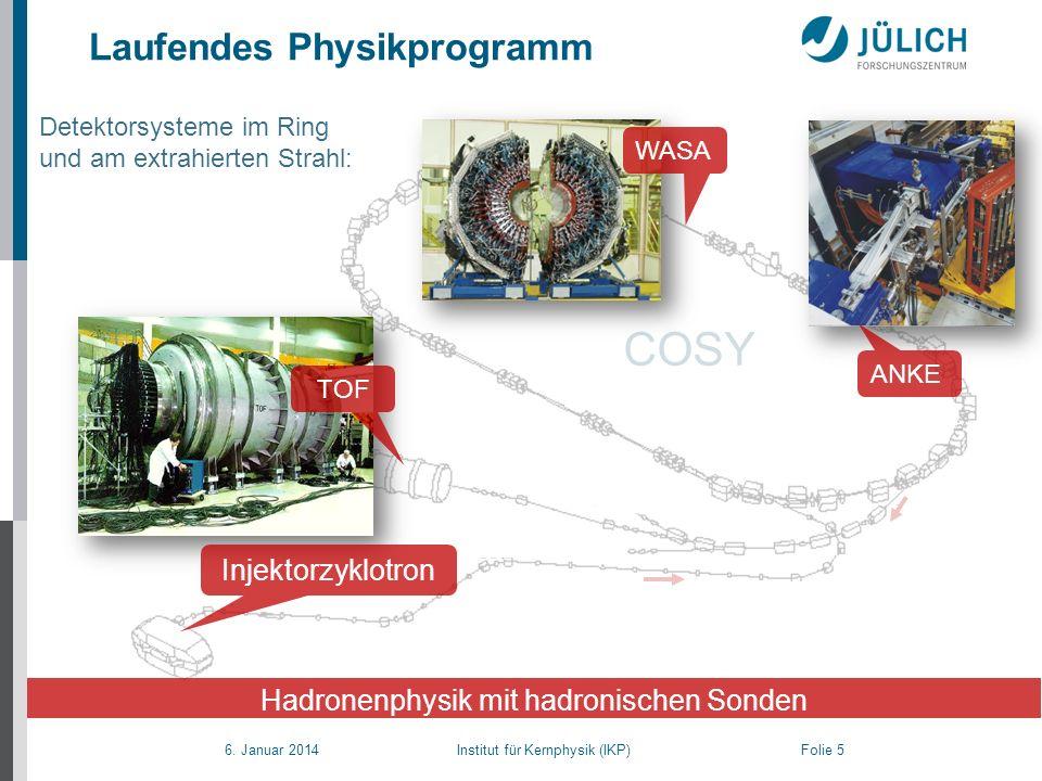 6. Januar 2014 Institut für Kernphysik (IKP) Folie 5 Laufendes Physikprogramm COSY Detektorsysteme im Ring und am extrahierten Strahl: ANKE Hadronenph