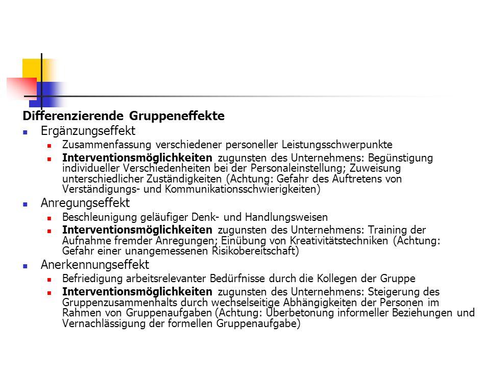 Differenzierende Gruppeneffekte Ergänzungseffekt Zusammenfassung verschiedener personeller Leistungsschwerpunkte Interventionsmöglichkeiten zugunsten
