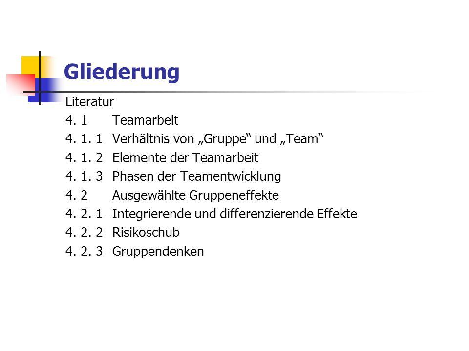 Gliederung Literatur 4. 1Teamarbeit 4. 1. 1Verhältnis von Gruppe und Team 4. 1. 2Elemente der Teamarbeit 4. 1. 3Phasen der Teamentwicklung 4. 2Ausgewä
