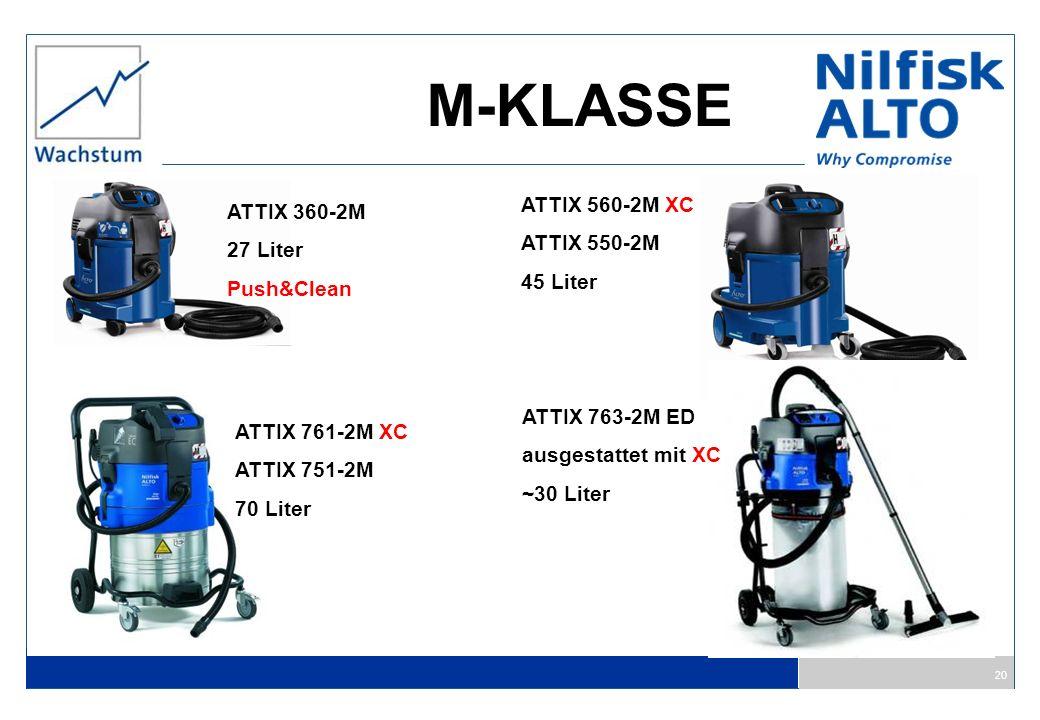 20 M-KLASSE ATTIX 360-2M 27 Liter Push&Clean ATTIX 560-2M XC ATTIX 550-2M 45 Liter ATTIX 761-2M XC ATTIX 751-2M 70 Liter ATTIX 763-2M ED ausgestattet