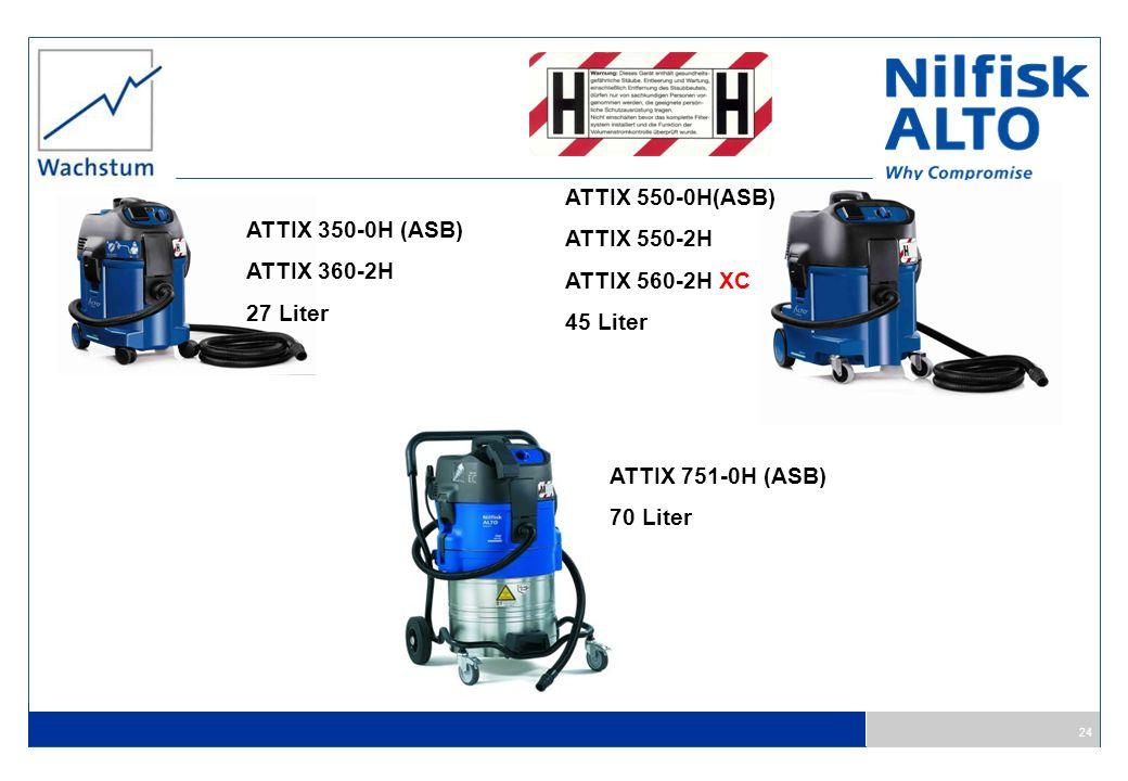 24 ATTIX 350-0H (ASB) ATTIX 360-2H 27 Liter ATTIX 550-0H(ASB) ATTIX 550-2H ATTIX 560-2H XC 45 Liter ATTIX 751-0H (ASB) 70 Liter