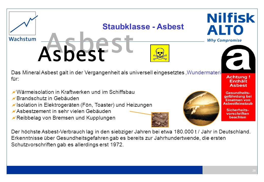 28 Staubklasse - Asbest Asbest Das Mineral Asbest galt in der Vergangenheit als universell eingesetztes Wundermaterial für: Wärmeisolation in Kraftwer