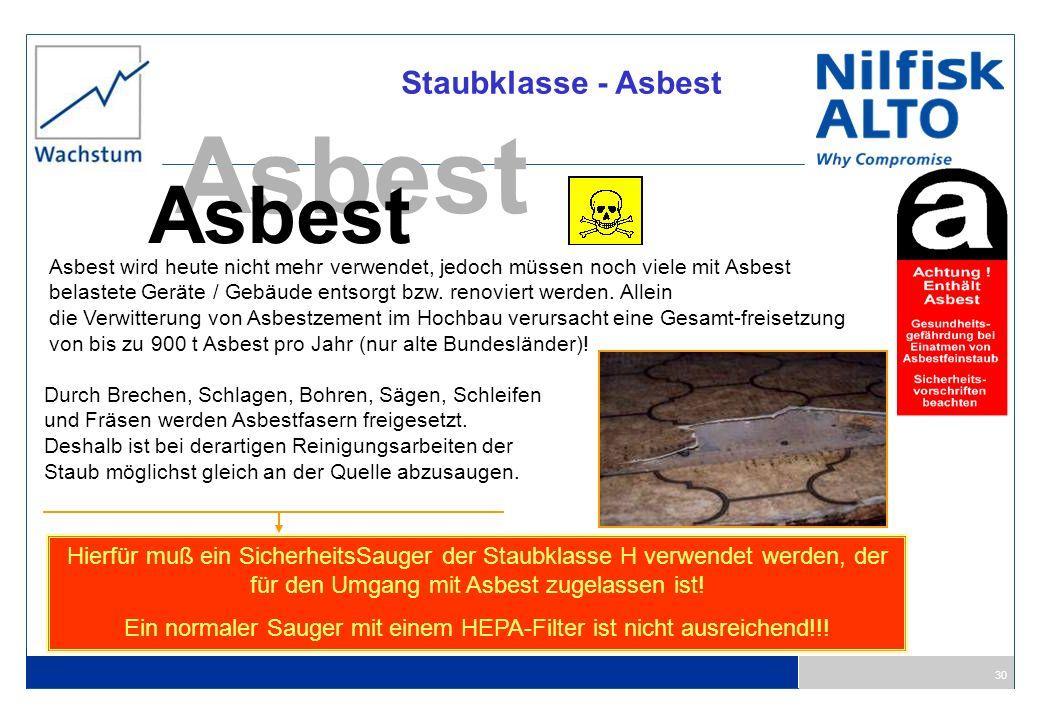 30 Staubklasse - Asbest Asbest Asbest wird heute nicht mehr verwendet, jedoch müssen noch viele mit Asbest belastete Geräte / Gebäude entsorgt bzw. re
