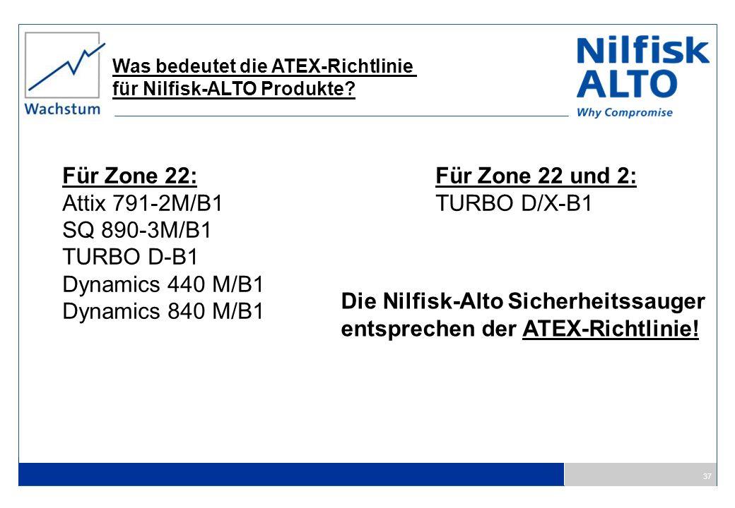 37 Was bedeutet die ATEX-Richtlinie für Nilfisk-ALTO Produkte? Die Nilfisk-Alto Sicherheitssauger entsprechen der ATEX-Richtlinie! Für Zone 22: Attix