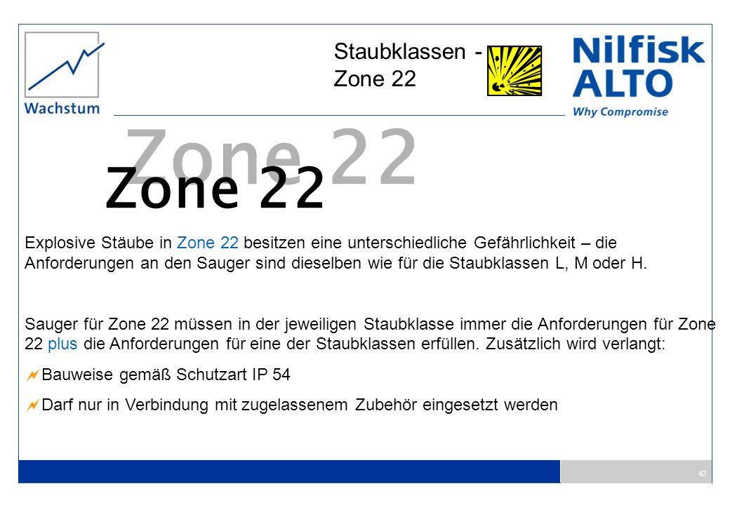42 Staubklassen - Zone 22 Zone 22 Explosive Stäube in Zone 22 besitzen eine unterschiedliche Gefährlichkeit – die Anforderungen an den Sauger sind die
