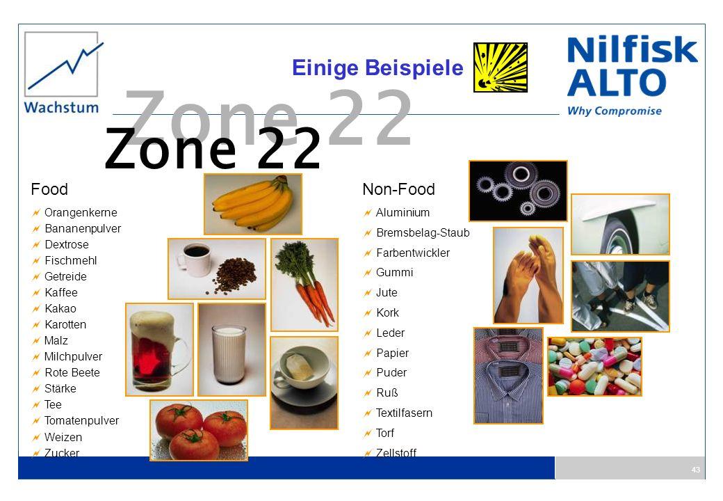 43 Zone 22 Einige Beispiele Food Orangenkerne Bananenpulver Dextrose Fischmehl Getreide Kaffee Kakao Karotten Malz Milchpulver Rote Beete Stärke Tee T