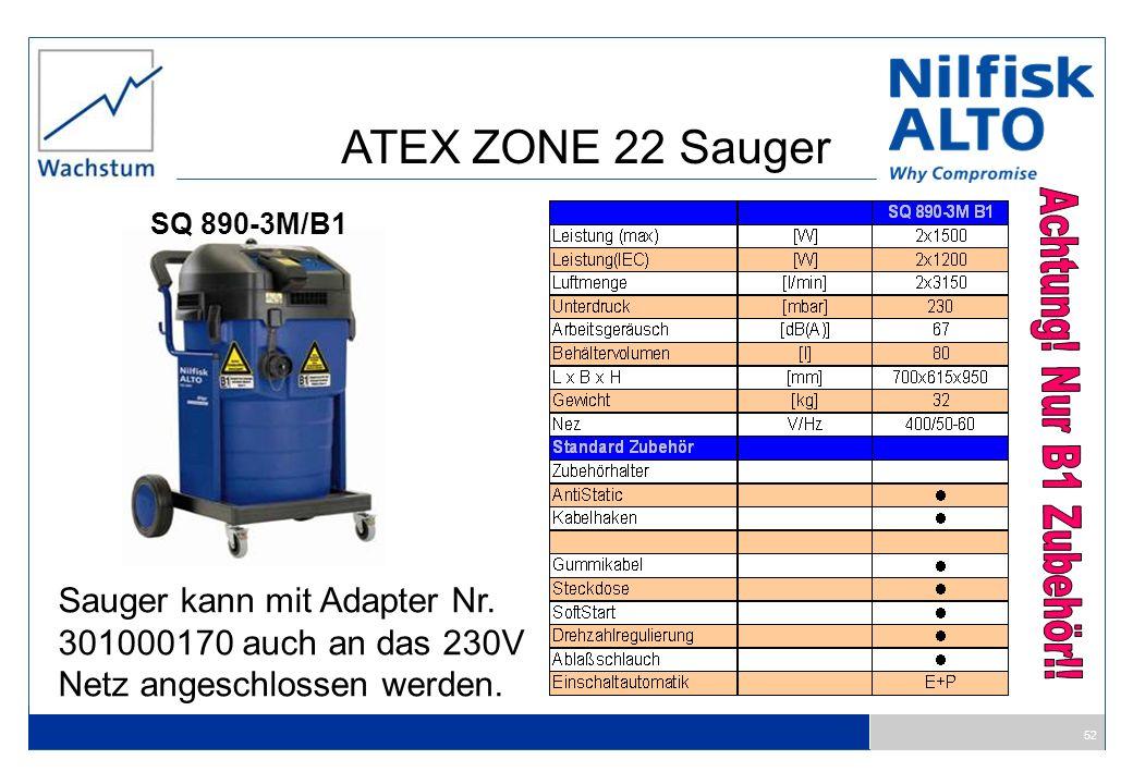 52 SQ 890-3M/B1 Sauger kann mit Adapter Nr. 301000170 auch an das 230V Netz angeschlossen werden. ATEX ZONE 22 Sauger