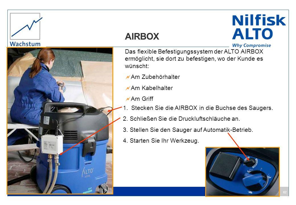 62 AIRBOX Das flexible Befestigungssystem der ALTO AIRBOX ermöglicht, sie dort zu befestigen, wo der Kunde es wünscht: Am Zubehörhalter Am Kabelhalter