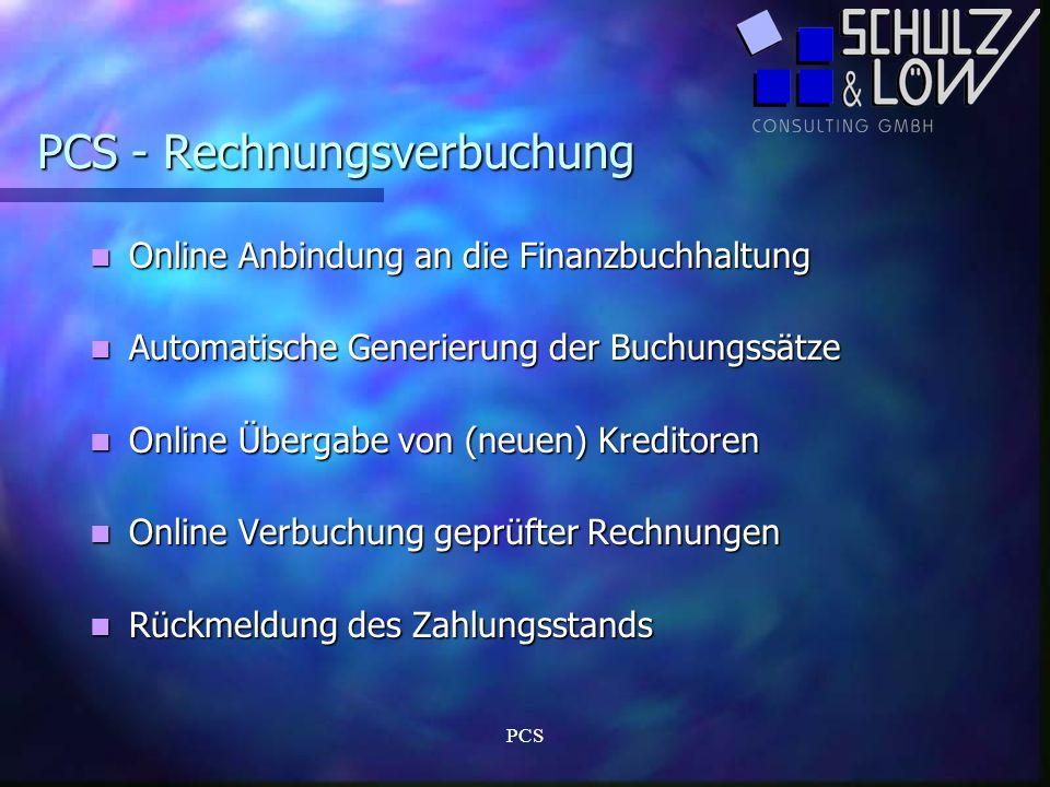PCS PCS - Rechnungsverbuchung Online Anbindung an die Finanzbuchhaltung Online Anbindung an die Finanzbuchhaltung Automatische Generierung der Buchung