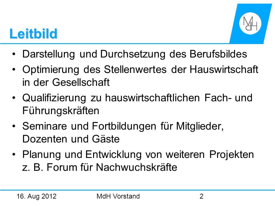 16. Aug 2012MdH Vorstand2 Leitbild Darstellung und Durchsetzung des Berufsbildes Optimierung des Stellenwertes der Hauswirtschaft in der Gesellschaft