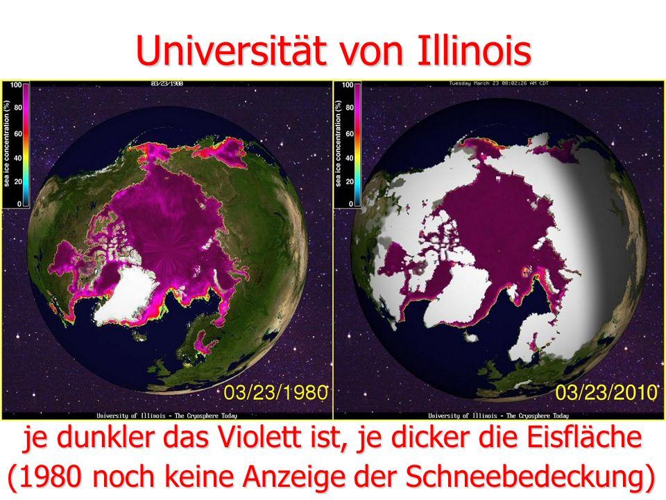 Universität von Illinois je dunkler das Violett ist, je dicker die Eisfläche (1980 noch keine Anzeige der Schneebedeckung)
