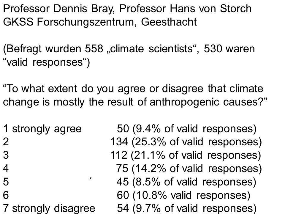 Professor Dennis Bray, Professor Hans von Storch GKSS Forschungszentrum, Geesthacht (Befragt wurden 558 climate scientists, 530 waren valid responses) To what extent do you agree or disagree that climate change is mostly the result of anthropogenic causes.