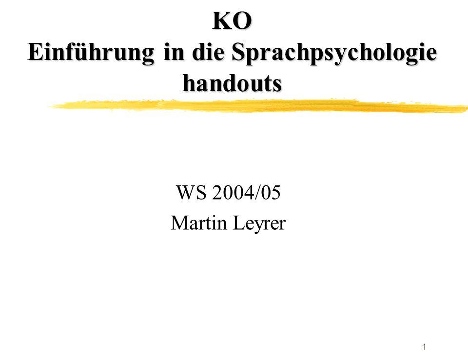 1 KO Einführung in die Sprachpsychologie handouts WS 2004/05 Martin Leyrer