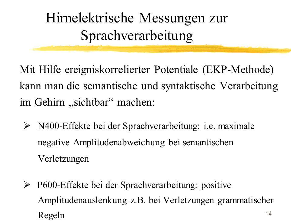14 Hirnelektrische Messungen zur Sprachverarbeitung Mit Hilfe ereigniskorrelierter Potentiale (EKP-Methode) kann man die semantische und syntaktische