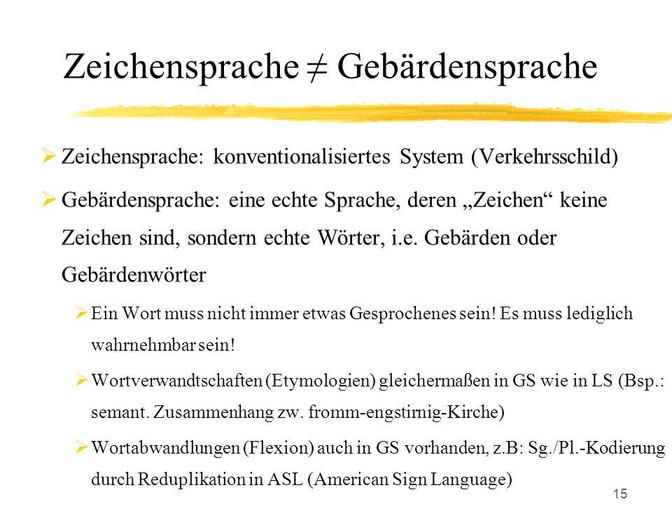 15 Zeichensprache Gebärdensprache Zeichensprache: konventionalisiertes System (Verkehrsschild) Gebärdensprache: eine echte Sprache, deren Zeichen kein