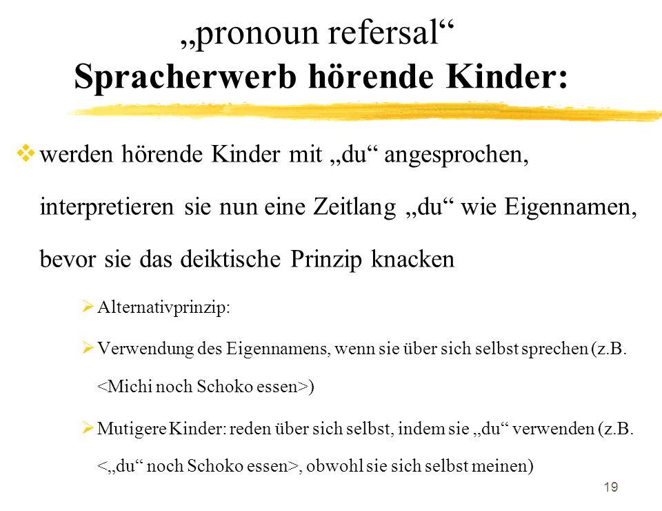 19 pronoun refersal Spracherwerb hörende Kinder: werden hörende Kinder mit du angesprochen, interpretieren sie nun eine Zeitlang du wie Eigennamen, be