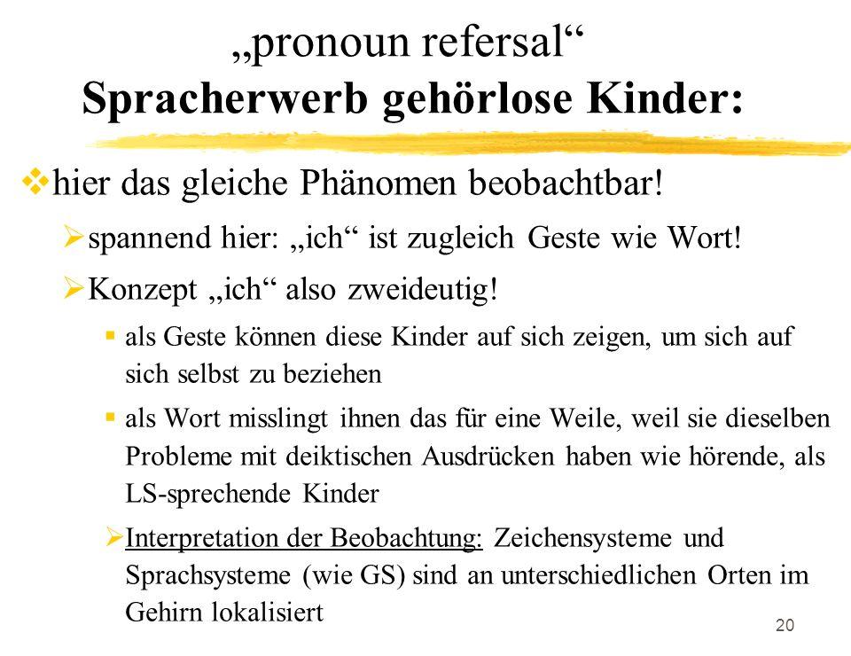 20 pronoun refersal Spracherwerb gehörlose Kinder: hier das gleiche Phänomen beobachtbar! spannend hier: ich ist zugleich Geste wie Wort! Konzept ich