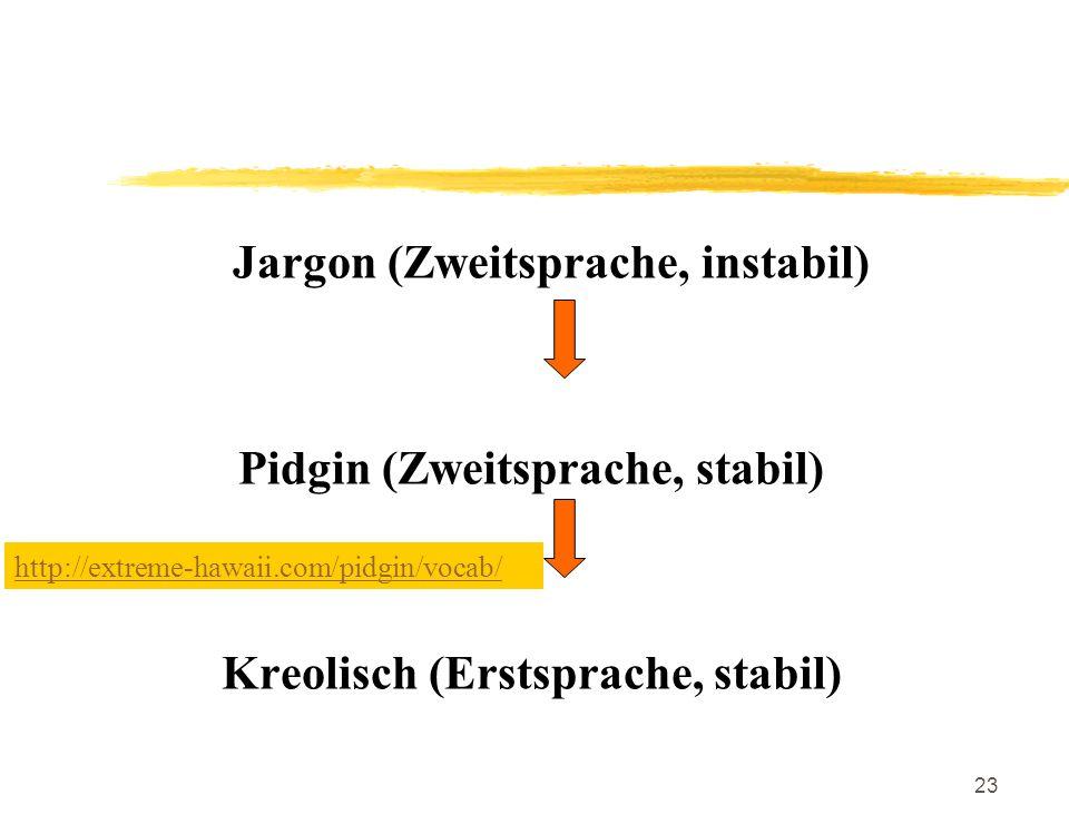 23 Jargon (Zweitsprache, instabil) Pidgin (Zweitsprache, stabil) Kreolisch (Erstsprache, stabil) http://extreme-hawaii.com/pidgin/vocab/