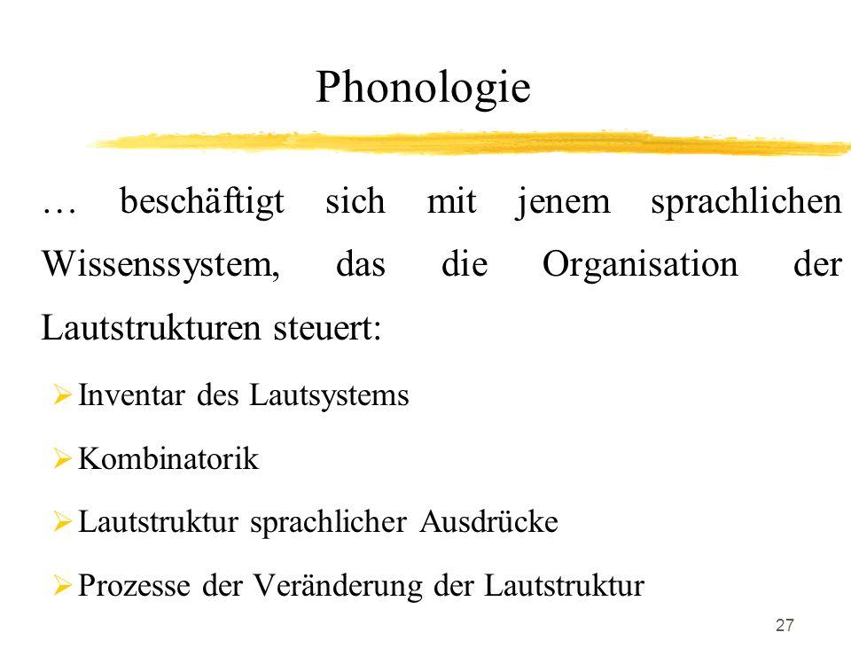 27 Phonologie … beschäftigt sich mit jenem sprachlichen Wissenssystem, das die Organisation der Lautstrukturen steuert: Inventar des Lautsystems Kombi