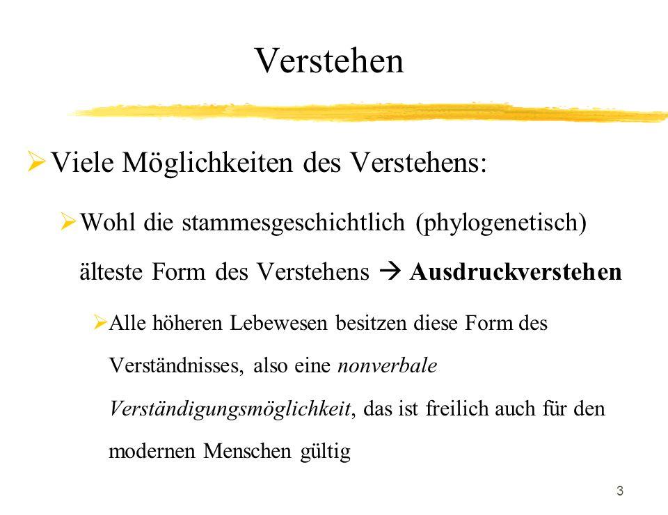 3 Verstehen Viele Möglichkeiten des Verstehens: Wohl die stammesgeschichtlich (phylogenetisch) älteste Form des Verstehens Ausdruckverstehen Alle höhe