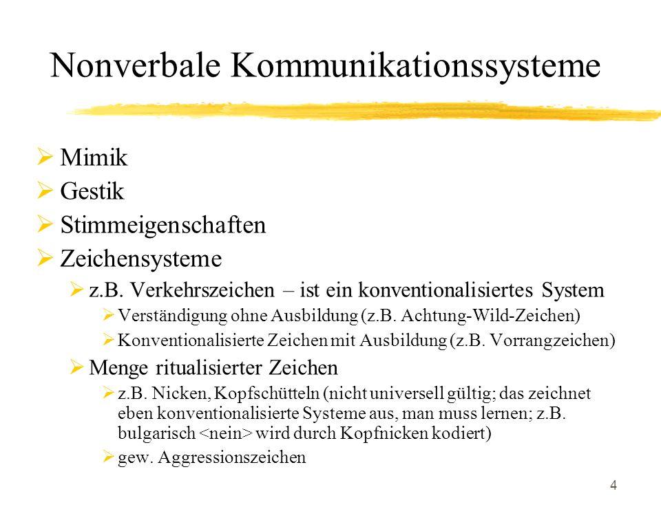 4 Nonverbale Kommunikationssysteme Mimik Gestik Stimmeigenschaften Zeichensysteme z.B. Verkehrszeichen – ist ein konventionalisiertes System Verständi