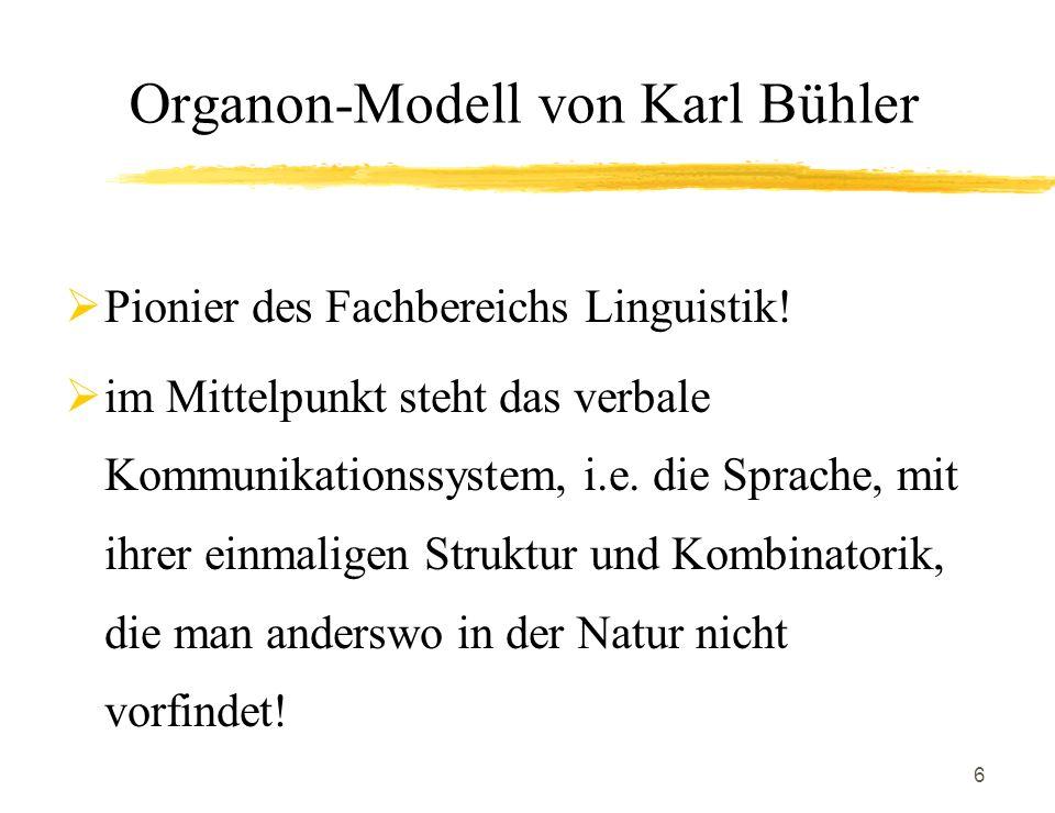 6 Organon-Modell von Karl Bühler Pionier des Fachbereichs Linguistik! im Mittelpunkt steht das verbale Kommunikationssystem, i.e. die Sprache, mit ihr