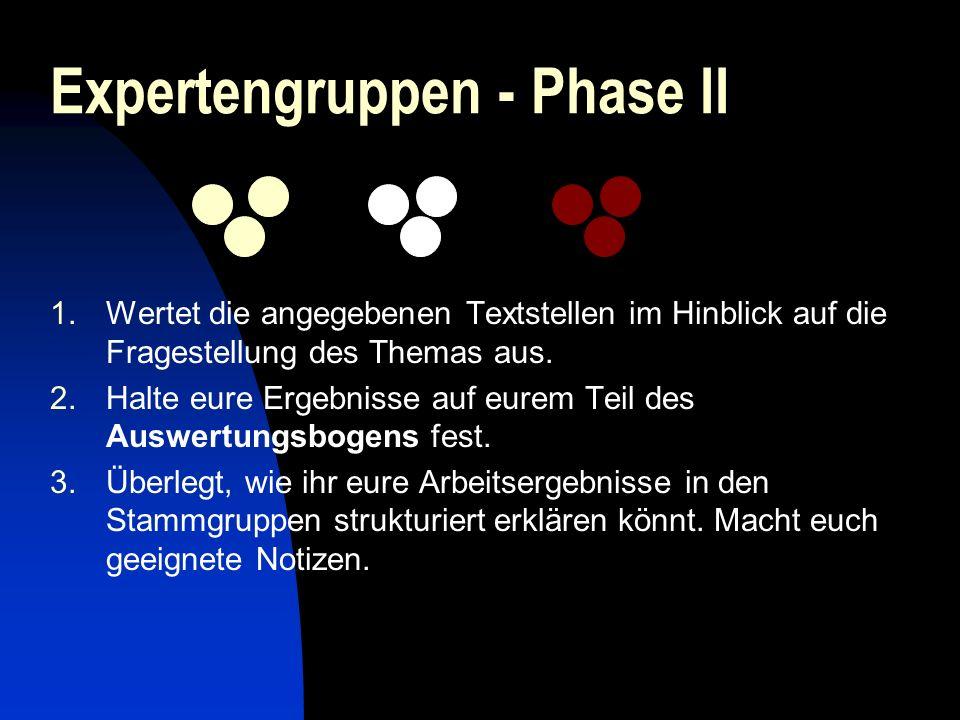 Expertengruppen - Phase II 1.Wertet die angegebenen Textstellen im Hinblick auf die Fragestellung des Themas aus. 2.Halte eure Ergebnisse auf eurem Te