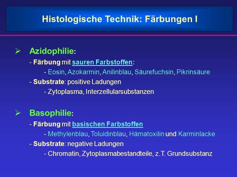 Histologische Technik: Färbungen I Azidophilie : - Färbung mit sauren Farbstoffen: - Eosin, Azokarmin, Anilinblau, Säurefuchsin, Pikrinsäure - Substra