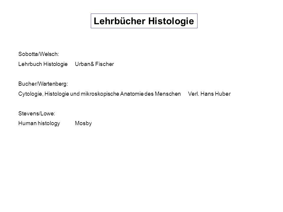 Taschenlehrbücher Histologie Hees/Sinowatz: HistologieDeutscher Ärzteverlag Linß/Fanghänel: HistologieWalter de Gruyter Rohen/Lütjen-Drecoll: Funktionelle HistlogieSchattauer Lüllmann-Rauch HistologieThieme