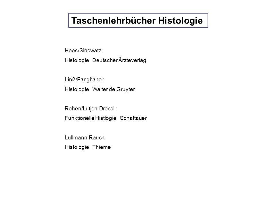 Histologieatlanten Kühnel: Taschenatlas der Zytologie, Histologie und mikroskopische Anatomie Thieme Sobotta/Welsch: Atlas Histologie Urban& Fischer Ross/ Rohen/Lütjen-Drecoll: Atlas der HistologieUllstein/Mosby
