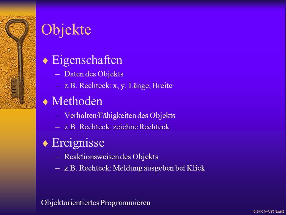 Objekte Eigenschaften –Daten des Objekts –z.B. Rechteck: x, y, Länge, Breite Methoden –Verhalten/Fähigkeiten des Objekts –z.B. Rechteck: zeichne Recht