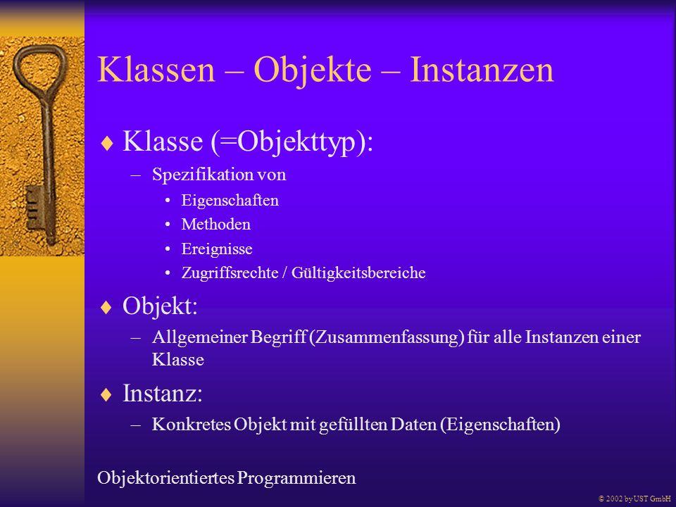 Klassen – Objekte – Instanzen Klasse (=Objekttyp): –Spezifikation von Eigenschaften Methoden Ereignisse Zugriffsrechte / Gültigkeitsbereiche Objekt: –