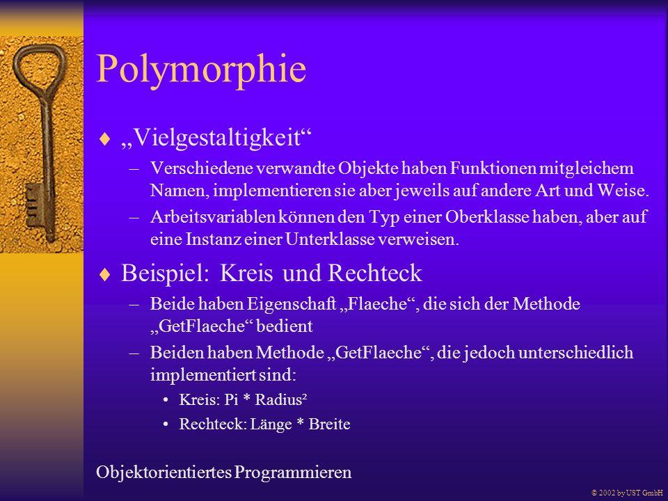 Polymorphie Vielgestaltigkeit –Verschiedene verwandte Objekte haben Funktionen mitgleichem Namen, implementieren sie aber jeweils auf andere Art und W