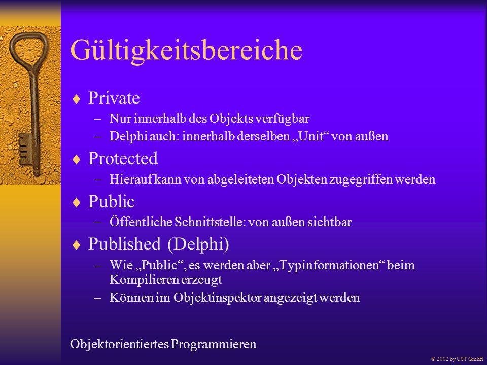 Gültigkeitsbereiche Private –Nur innerhalb des Objekts verfügbar –Delphi auch: innerhalb derselben Unit von außen Protected –Hierauf kann von abgeleit