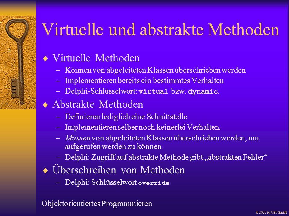 Virtuelle und abstrakte Methoden Virtuelle Methoden –Können von abgeleiteten Klassen überschrieben werden –Implementieren bereits ein bestimmtes Verha