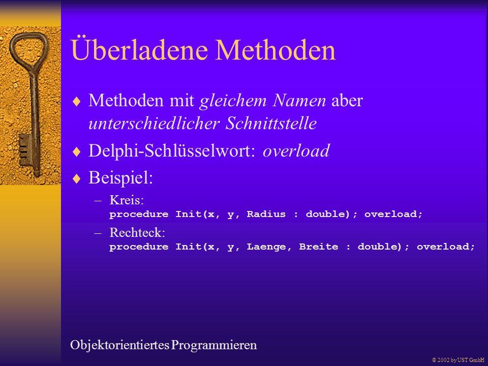 Überladene Methoden Methoden mit gleichem Namen aber unterschiedlicher Schnittstelle Delphi-Schlüsselwort: overload Beispiel: –Kreis: procedure Init(x
