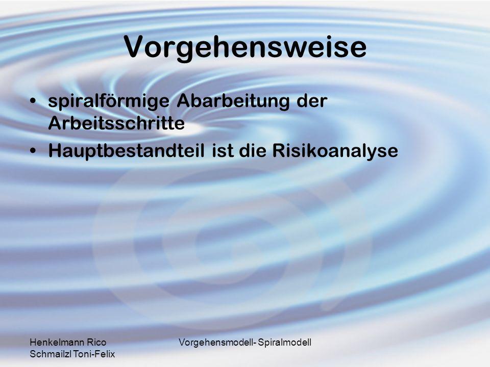 Henkelmann Rico Schmailzl Toni-Felix Vorgehensmodell- Spiralmodell Vorgehensweise spiralförmige Abarbeitung der Arbeitsschritte Hauptbestandteil ist d