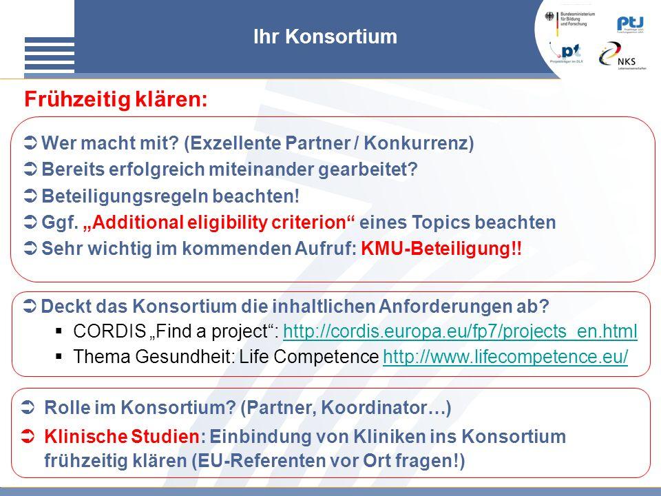 Ihr Konsortium Rolle im Konsortium? (Partner, Koordinator…) Klinische Studien: Einbindung von Kliniken ins Konsortium frühzeitig klären (EU-Referenten