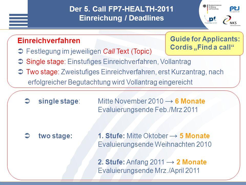 Der 5. Call FP7-HEALTH-2011 Einreichung / Deadlines single stage:Mitte November 2010 6 Monate Evaluierungsende Feb./Mrz 2011 two stage:1. Stufe: Mitte