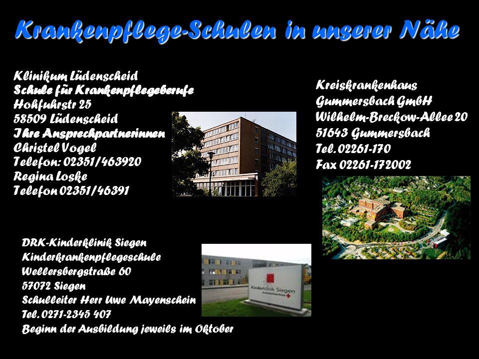 Klinikum Lüdenscheid Schule für Krankenpflegeberufe Hohfuhrstr 25 58509 Lüdenscheid Ihre Ansprechpartnerinnen Christel Vogel Telefon: 02351/463920 Reg