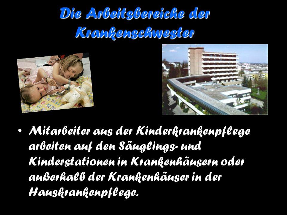 Die Arbeitsbereiche der Krankenschwester Mitarbeiter aus der Kinderkrankenpflege arbeiten auf den Säuglings- und Kinderstationen in Krankenhäusern ode