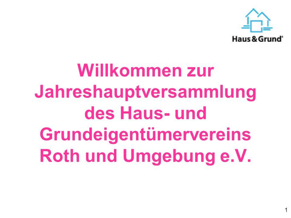 1 Willkommen zur Jahreshauptversammlung des Haus- und Grundeigentümervereins Roth und Umgebung e.V.