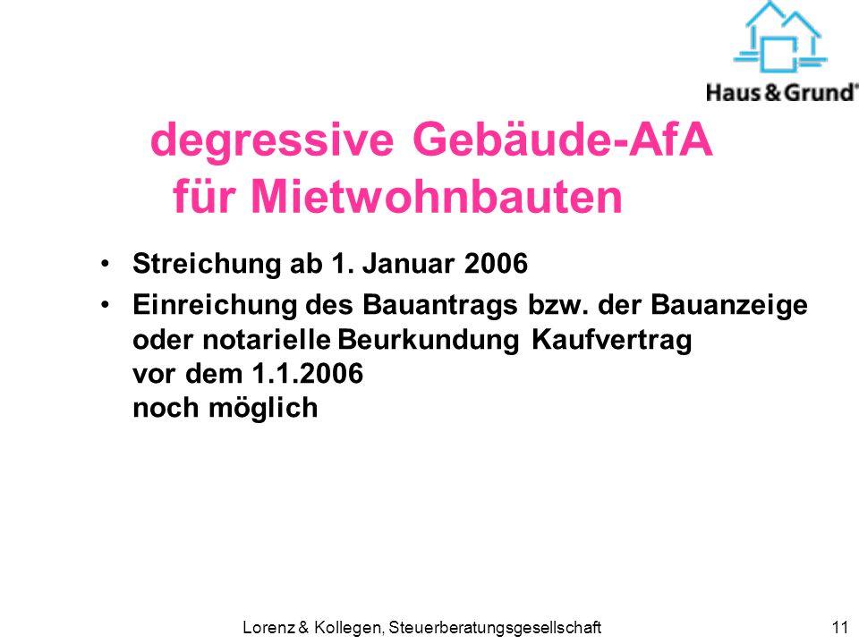 Lorenz & Kollegen, Steuerberatungsgesellschaft11 degressive Gebäude-AfA für Mietwohnbauten Streichung ab 1.