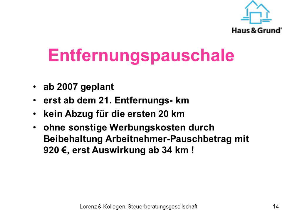Lorenz & Kollegen, Steuerberatungsgesellschaft14 Entfernungspauschale ab 2007 geplant erst ab dem 21.