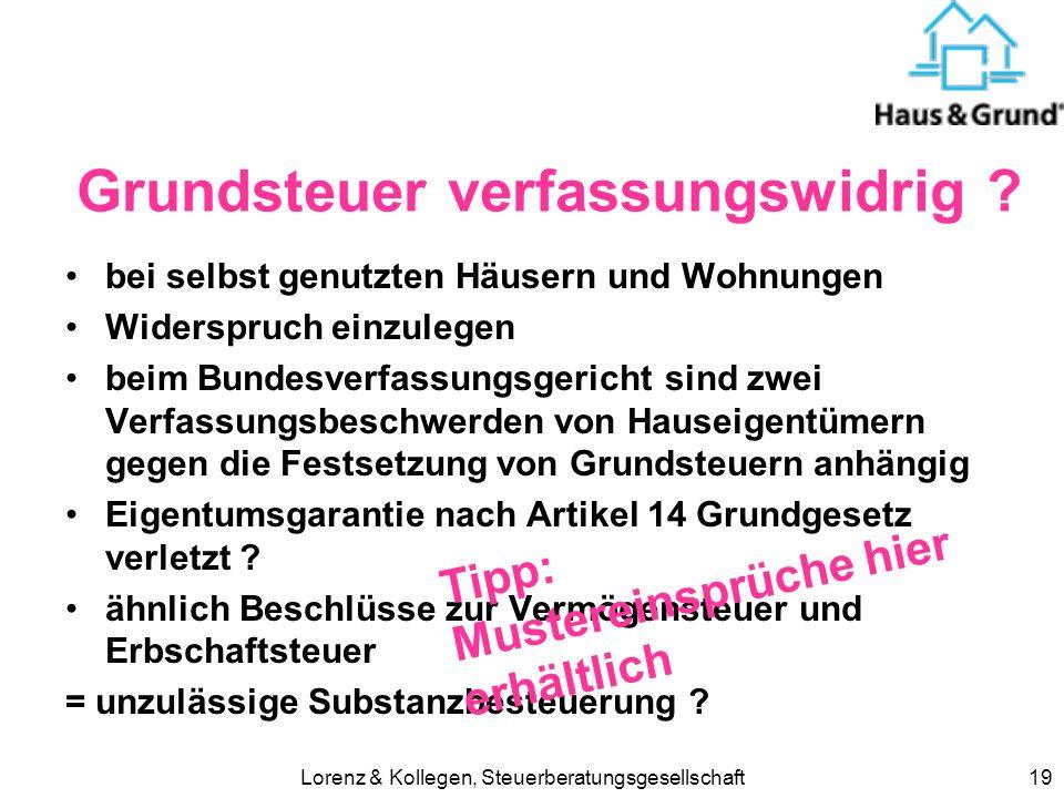 Lorenz & Kollegen, Steuerberatungsgesellschaft19 Grundsteuer verfassungswidrig .