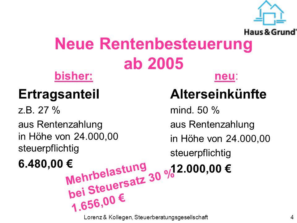 Lorenz & Kollegen, Steuerberatungsgesellschaft5 höhere Umsatzsteuer Bisher 16 % Ab 2007 19 % Tipp: Investitionen Reparaturen vorziehen ?