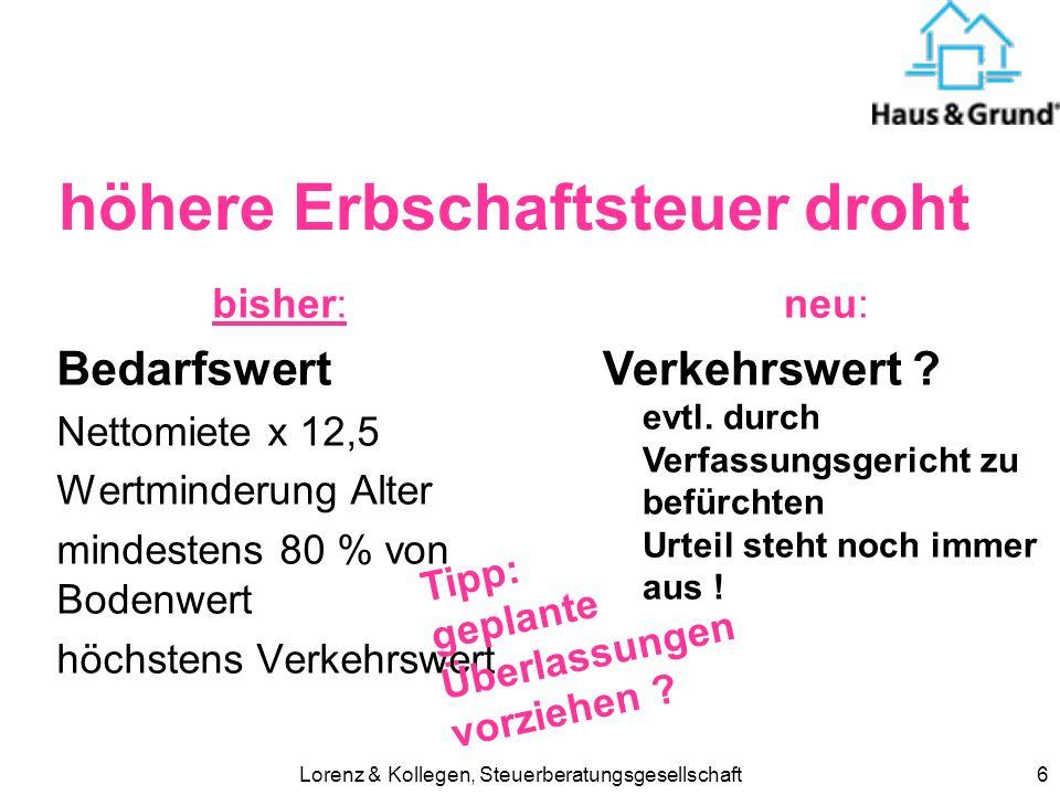 Lorenz & Kollegen, Steuerberatungsgesellschaft6 höhere Erbschaftsteuer droht bisher: Bedarfswert Nettomiete x 12,5 Wertminderung Alter mindestens 80 % von Bodenwert höchstens Verkehrswert neu: Verkehrswert .