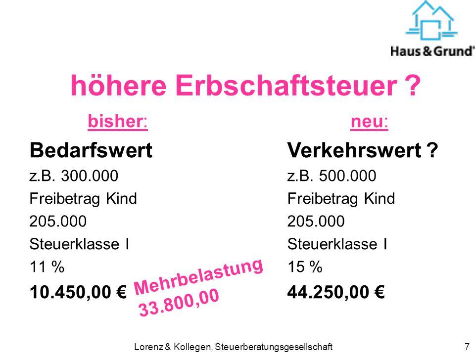 Lorenz & Kollegen, Steuerberatungsgesellschaft18 Steuerberatungskosten ab 2006 für Einkommensteuererklärung nicht mehr absetzbar jedoch weiterhin für Anlage N Anlage Kap Anlage V etc.