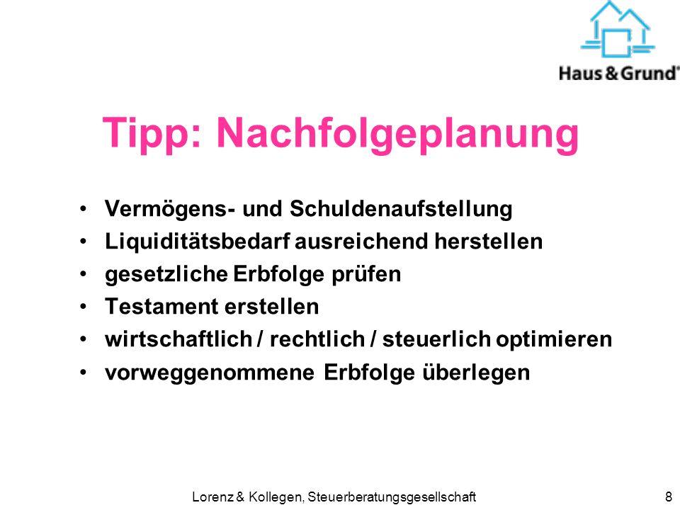 Lorenz & Kollegen, Steuerberatungsgesellschaft9 Tipp: Eheverträge Güterstand .
